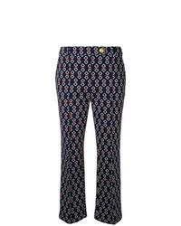Pantaloni stretti in fondo stampati blu scuro di Tory Burch