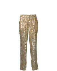 Pantaloni stretti in fondo stampati dorati