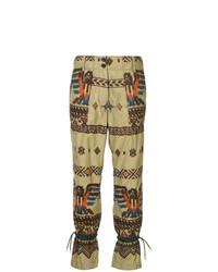 Pantaloni stretti in fondo stampati marrone chiaro di Sacai