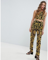Pantaloni stretti in fondo stampati neri di Love & Other Things