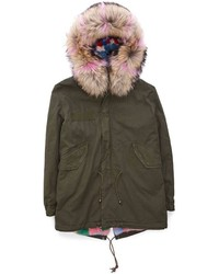 Parka in pelle verde scuro
