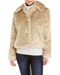 Pelliccia corta leopardato beige