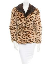 Pelliccia corta leopardato marrone chiaro