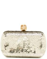 Pochette con paillettes dorata di Alexander McQueen