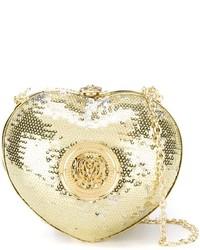 Pochette con paillettes dorata di Love Moschino