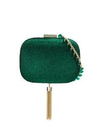 Pochette con paillettes verde scuro di Serpui