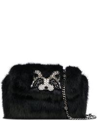Pochette di pelliccia decorata nera di Ermanno Scervino