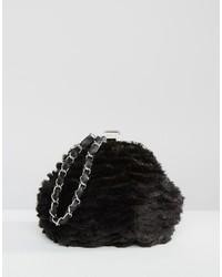 Pochette di pelliccia nera di Missguided