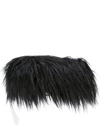 Pochette di pelliccia nera di MM6 MAISON MARGIELA