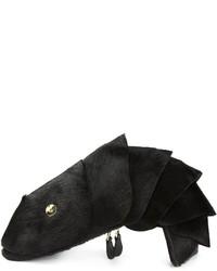 Pochette di pelliccia nera