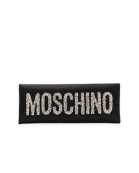 Pochette di raso decorata nera di Moschino