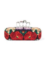 Pochette di tela decorata rossa di Alexander McQueen