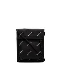 Pochette di tela stampata nera di Balenciaga