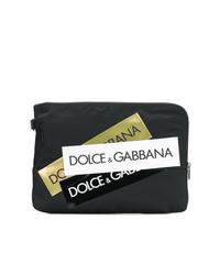 Pochette di tela stampata nera di Dolce & Gabbana