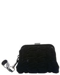 Pochette di velluto trapuntata nera