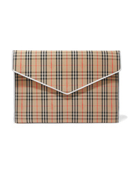 Pochette in pelle a quadri marrone chiaro di Burberry