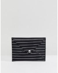 Pochette in pelle a righe orizzontali nera e bianca di Pull&Bear