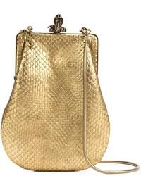 Pochette in pelle con stampa serpente dorata di Saint Laurent
