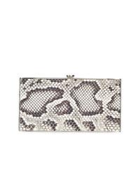 Pochette in pelle con stampa serpente grigia di Elisabeth Weinstock