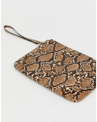 Pochette in pelle con stampa serpente marrone di ASOS DESIGN