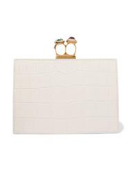 Pochette in pelle decorata bianca di Alexander McQueen