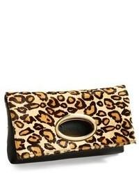 Pochette in pelle leopardata marrone chiaro