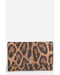 Pochette in pelle leopardata marrone