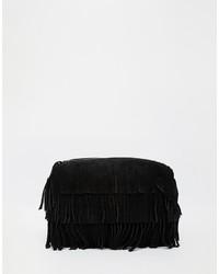 Pochette in pelle scamosciata con frange nera di Asos
