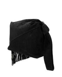 Pochette in pelle scamosciata con frange nera di Isabel Marant