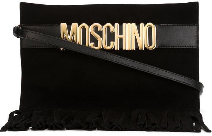 Pochette in pelle scamosciata con frange nera di Moschino