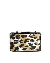 Pochette in pelle scamosciata leopardata beige