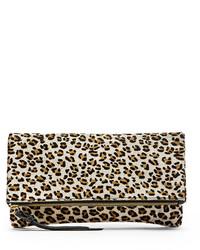 Pochette in pelle scamosciata leopardata bianca