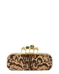 Pochette in pelle scamosciata leopardata marrone chiaro