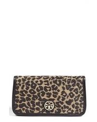Pochette in pelle scamosciata leopardata marrone
