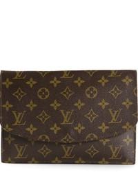 Pochette in pelle stampata marrone scuro di Louis Vuitton
