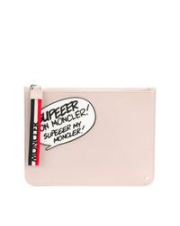 Pochette in pelle stampata rosa di Moncler