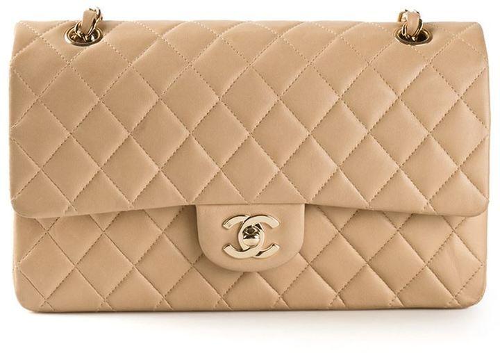 Pochette in pelle trapuntata beige di Chanel