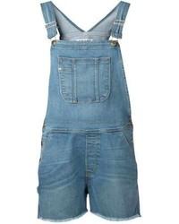 Salopette corta di jeans blu