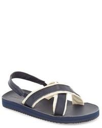 Sandali blu scuro e bianchi