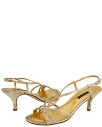 Sandali con tacco con paillettes dorati