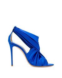 Sandali con tacco di raso blu
