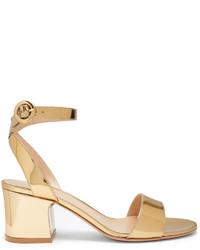 Sandali con tacco di raso dorati