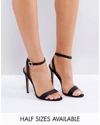 Sandali con tacco di raso neri di Asos