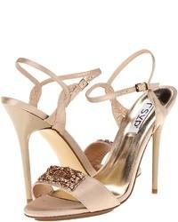 Sandali con tacco di raso rosa