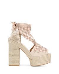 Sandali con tacco di tela beige