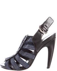Sandali con tacco di tela blu scuro