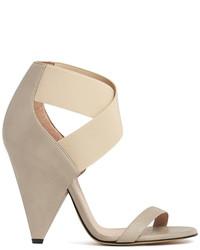 Sandali con tacco elasticizzati beige