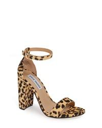 Sandali con tacco in cavallino leopardati marrone chiaro