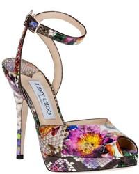 Sandali con tacco in pelle a fiori fucsia