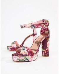 Sandali con tacco in pelle a fiori fucsia di Ted Baker